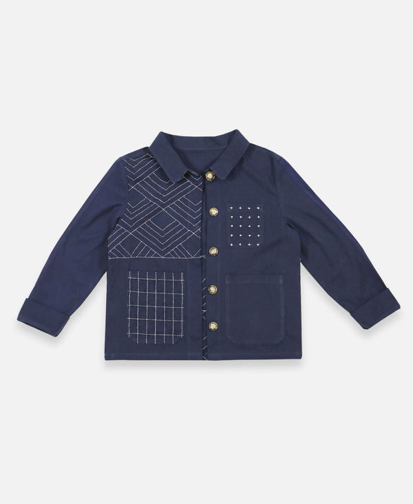 Anchal button up organic cotton chore jacket with mismatched pockets in navy