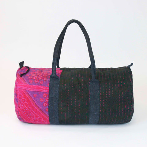 Fuchsia Overdyed Hand-Stitched Bag