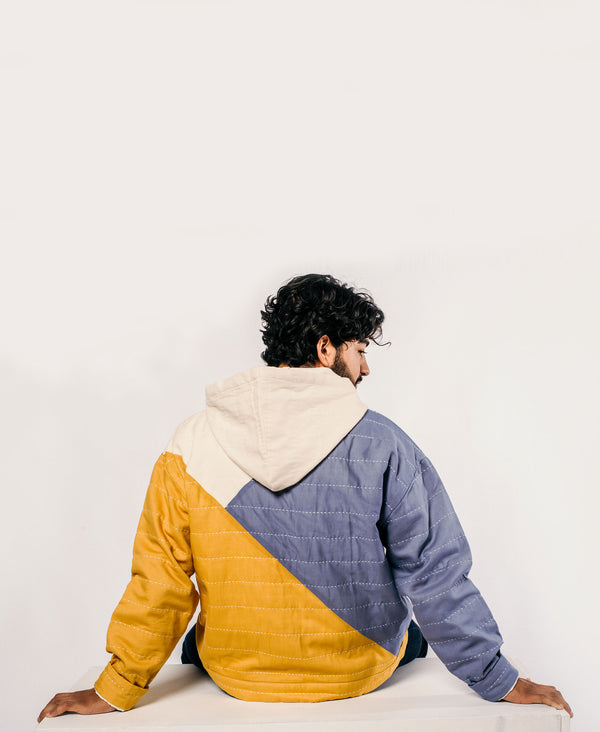 eco-friendly lounge wear hoodie in mustard yellow and slate blue by Anchal Project