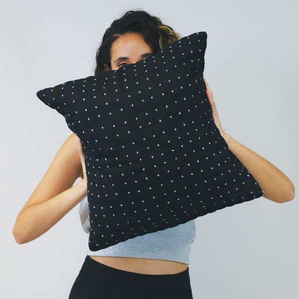 Black Overdyed Hand-Stitched Pillow