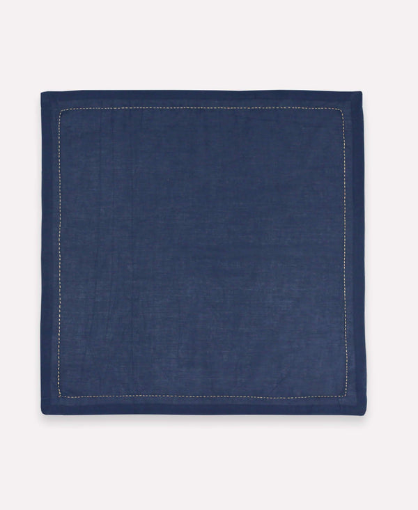 Anchal Project pin-stitch navy organic cotton napkin set