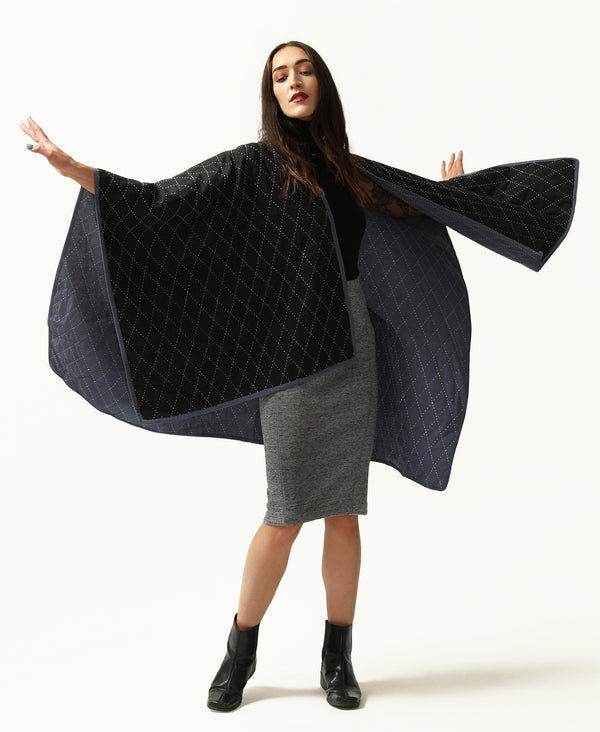 Striking diamond stitched oversized poncho with a reversible design