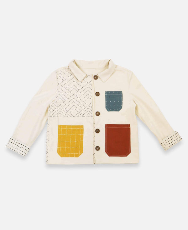 Anchal organic cotton chore jacket with colorful mismatched pockets