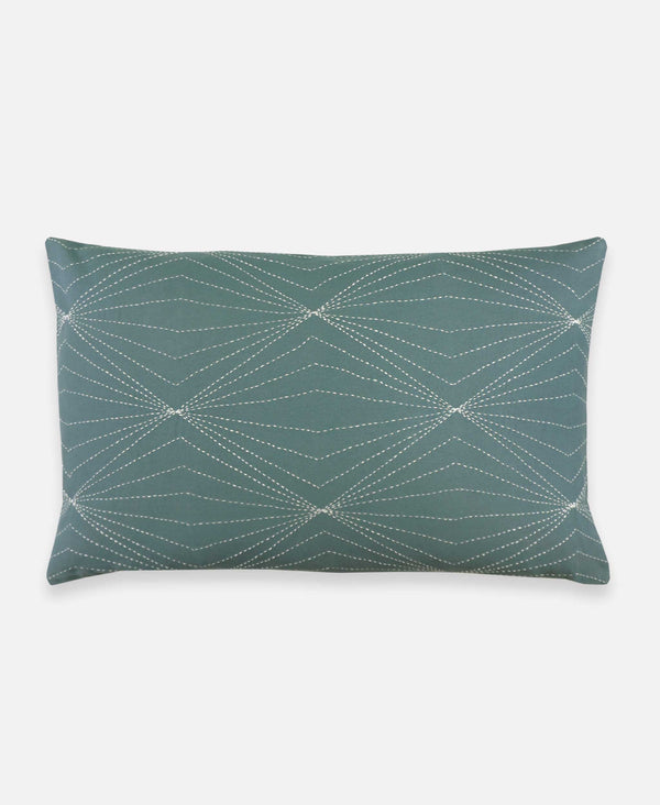 spruce lumbar throw pillow with geometric hand embroidered pattern that is eco friendly