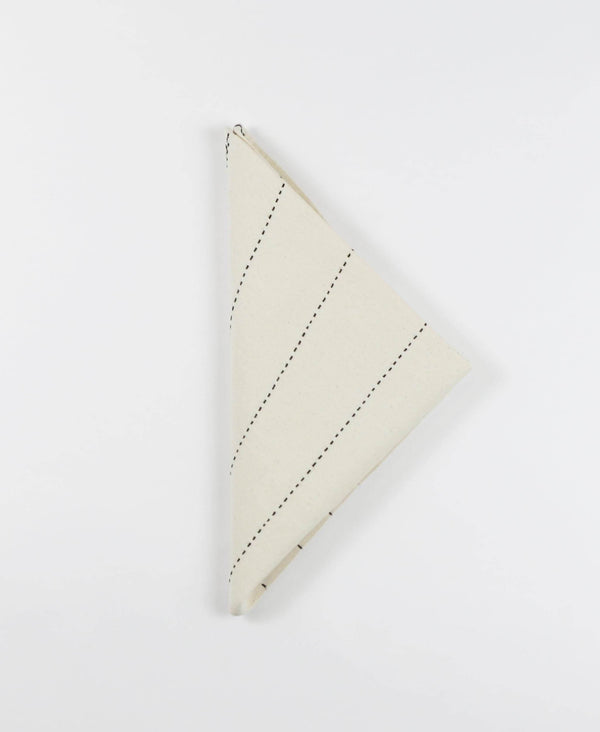 Anchal Project hand-embroidered cotton napkins with geometric modern stitching