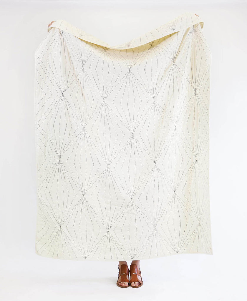 Anchal Project organic cotton hand-stitched ivory quilt