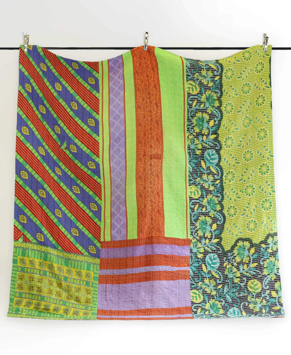 neon green kantha quilt that has been ethically handmade by Anchal artisans in Ajmer india