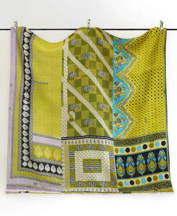 hand-stitched green kantha quilt queen