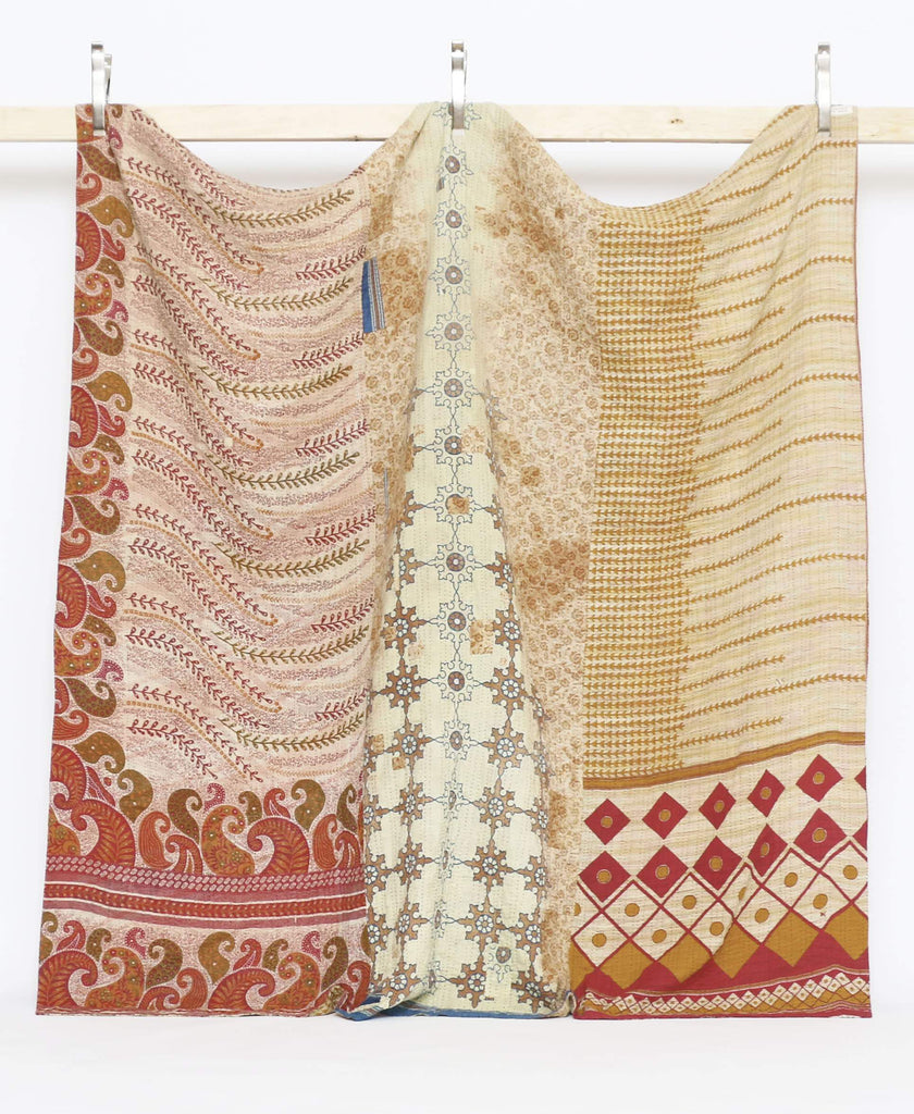 queen kantha quilt bedding in yellow and maroon colors