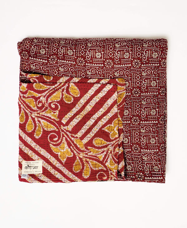 maroon kantha quilt bedding made from vintage saris by Anchal artisans