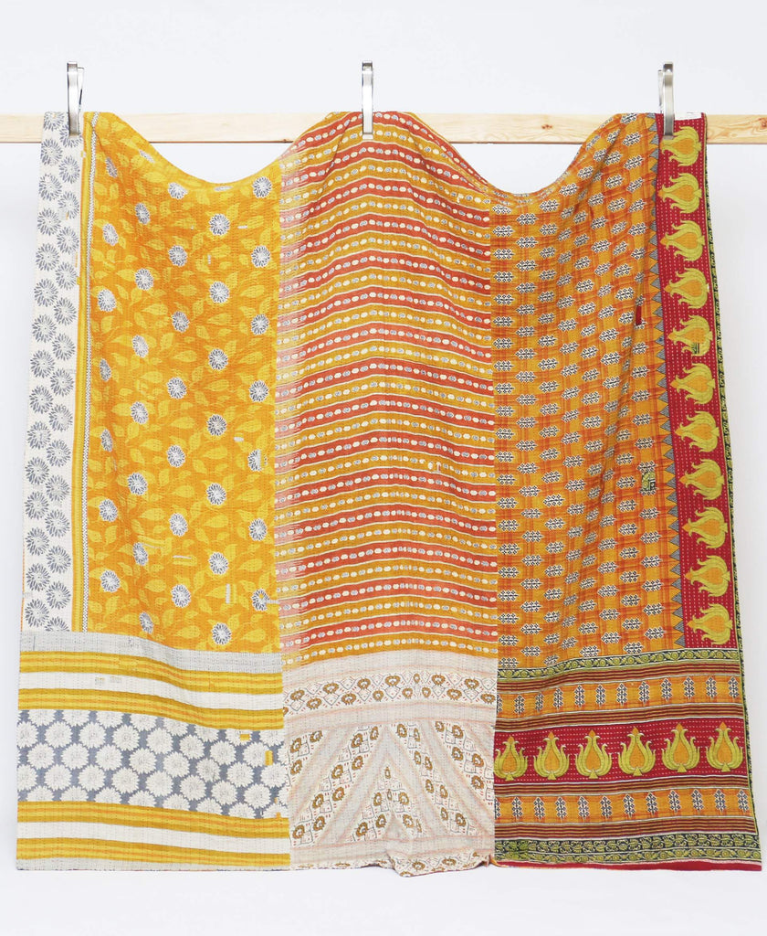 sunny kantha quilt ethically hand-stitched from vintage cotton saris by women artisans