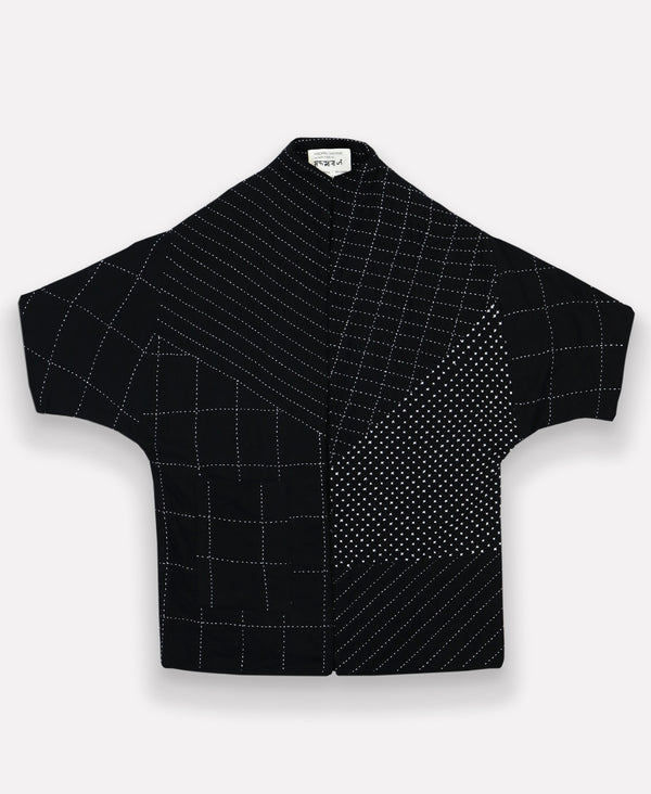 Flat-lay image of well made black jacket out of organic cotton featuring unique stitching patterns