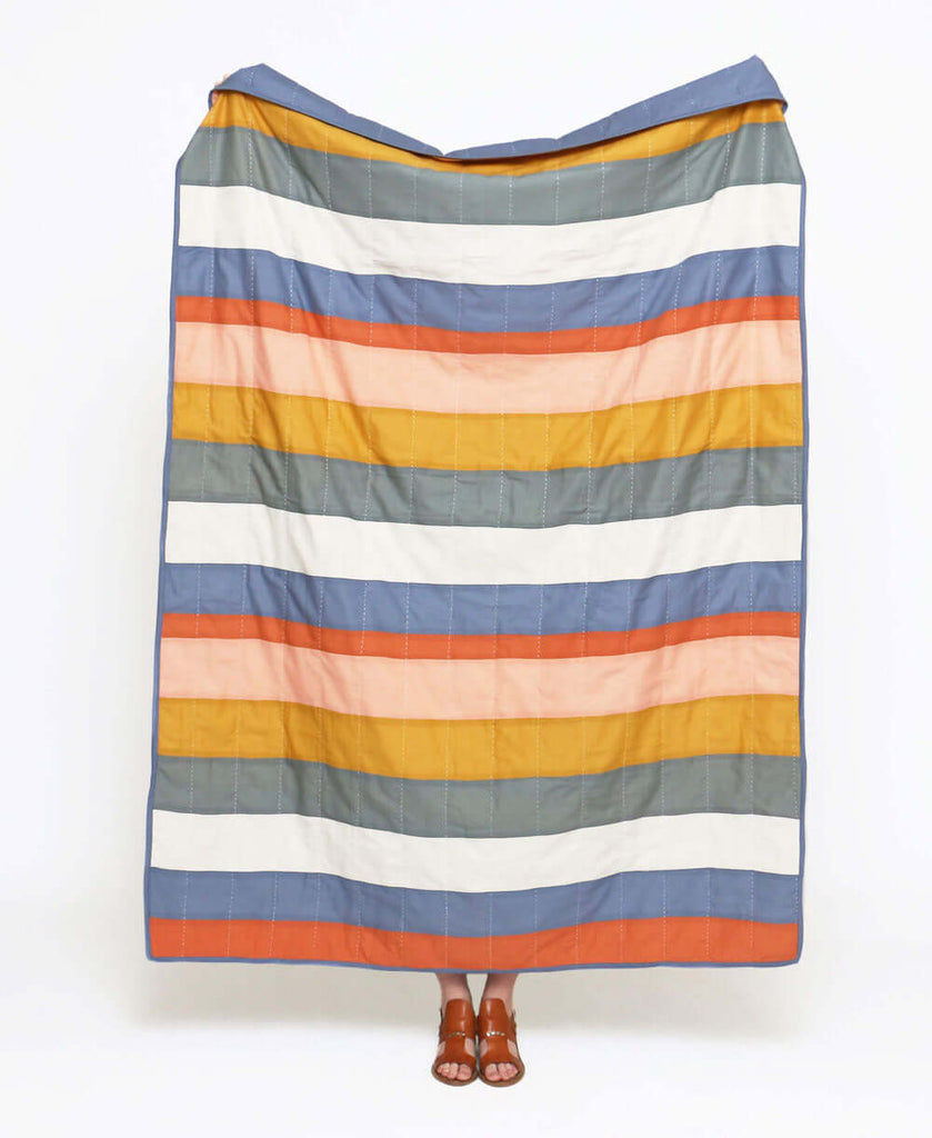 multi color stripe quilt made from GOTS certified organic cotton