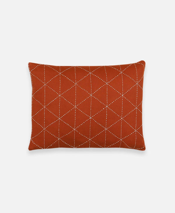 Anchal Project small rust throw pillow with geometric accent design