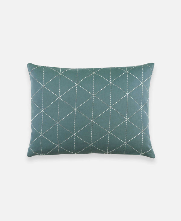 small throw pillow with geometric grid design