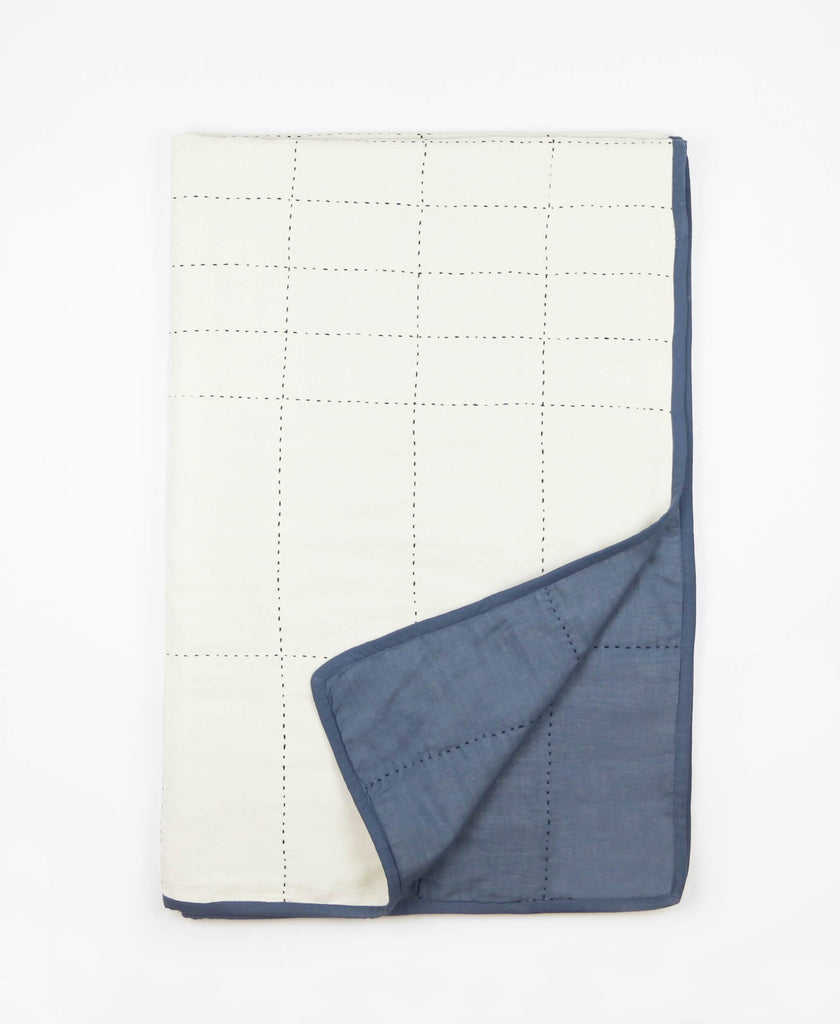 modern kantha quilt in slate blue ethically made from organic cotton baby quilt