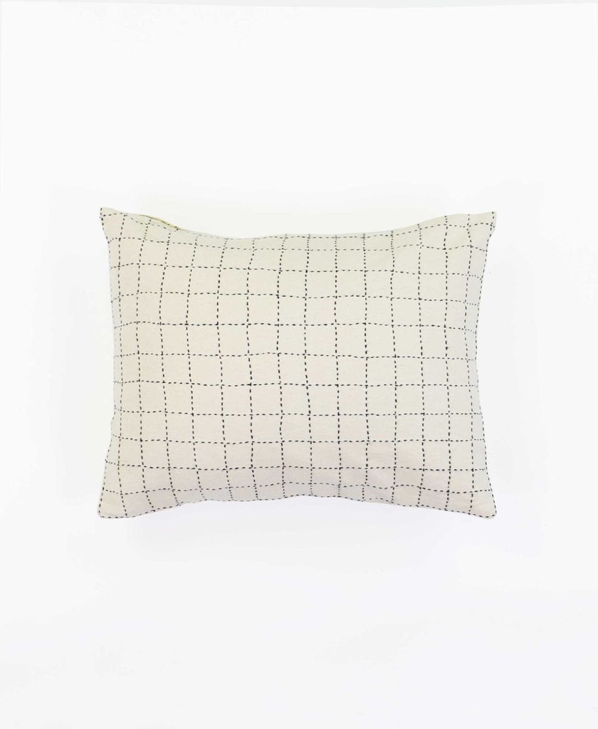 Small Grid-Stitch Throw Pillow - Bone - Sample