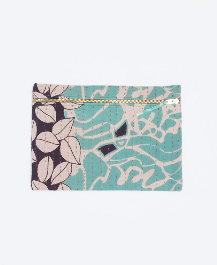 Mint and black vintage kantha small pouch handstitched my Anchal artisans with gold zipper and geometric shapes