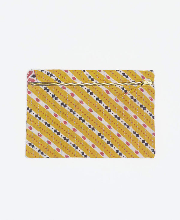 Unique yellow vintage kantha small pouch handstitched my Anchal artisans with white stripes and pink and black geometric shapes with gold zipper