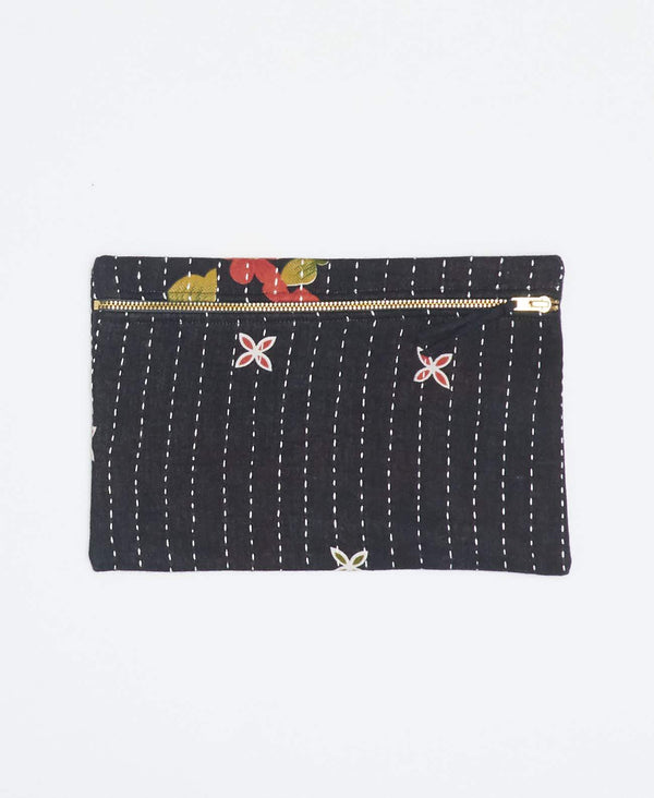 Black vintage kantha small pouch handstitched my Anchal artisans with peach floral patters with gold zipper