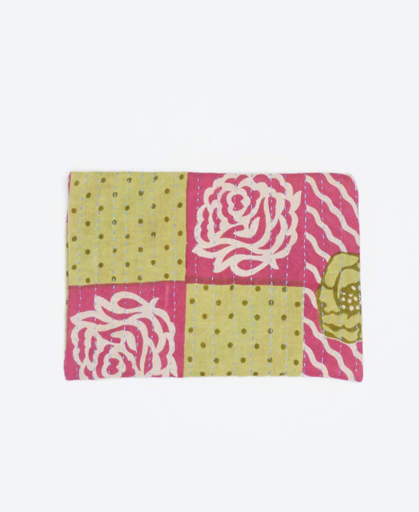 Eco-friendly yellow and pink small clutch with white floral patterns made from recycled cotton and blue Kantha stitching