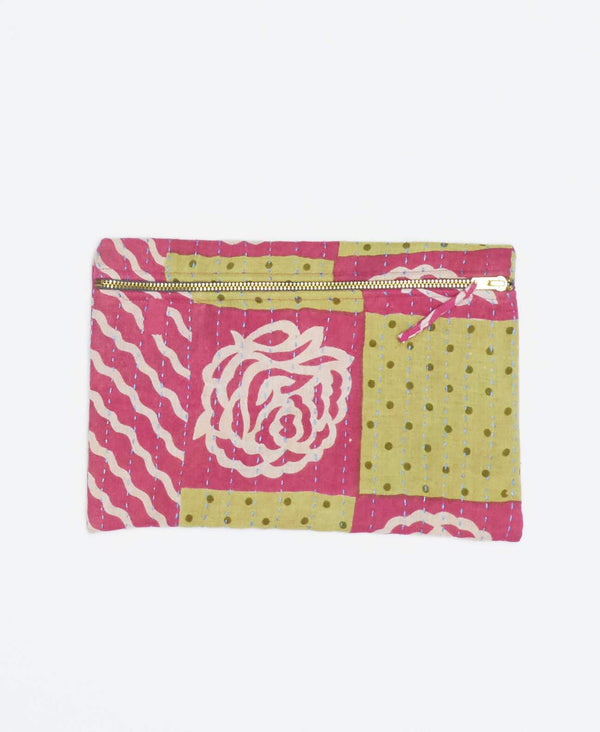 Pink and yellow vintage kantha small pouch handstitched my Anchal artisans with white floral patters and yellow polka dots with gold zipper