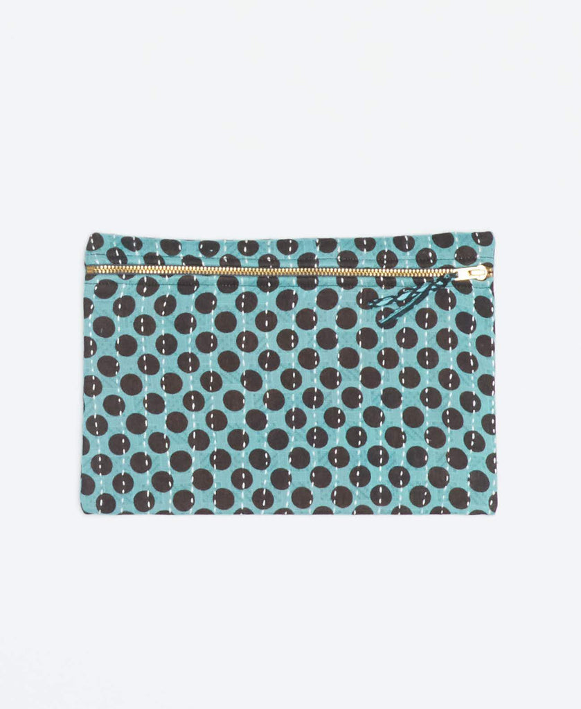 Blue vintage kantha small pouch handstitched my Anchal artisans with black polka dots and gold zipper
