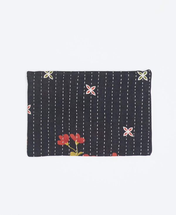 Environmental black small clutch with orange floral patterns made from recycled cotton and white Kantha stitching