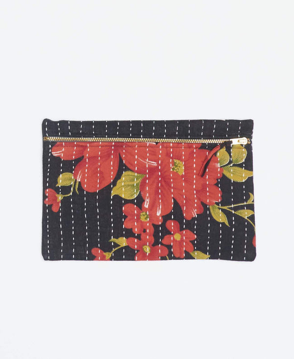 Black vintage kantha small pouch handmade my Anchal artisans with large orange floral patterns and gold zipper