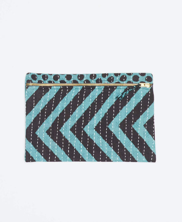 Unique blue vintage kantha small pouch handmade my Anchal artisans with black polka dot and zig-zag patterns and gold zipper
