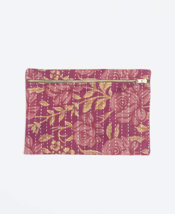Pink vintage kantha small pouch handmade my Anchal artisans with pink and yellow floral patterns and gold zipper