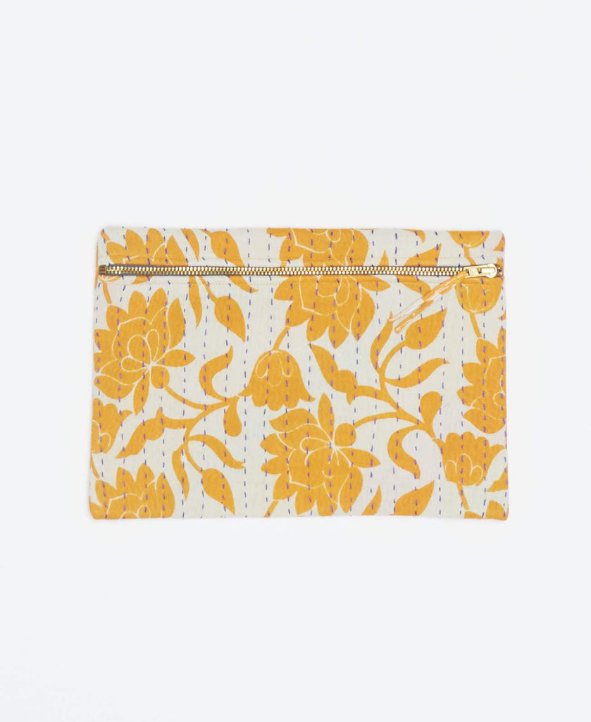 White vintage kantha small pouch handmade my Anchal artisans with light orange floral patterns and gold zipper