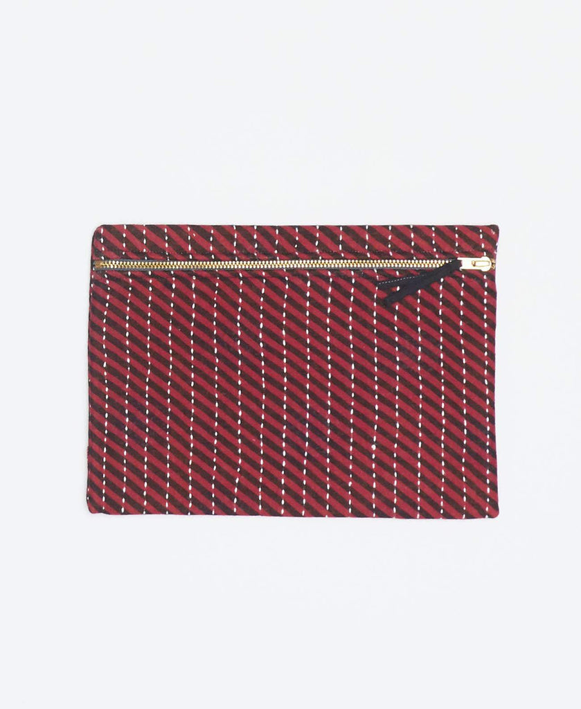 Pink kantha small pouch handmade my Anchal artisans with black diagonal stripes and gold zipper