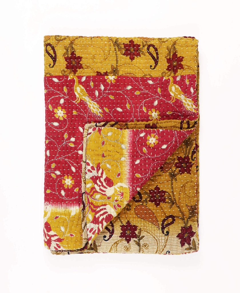 red and mustard yellow small kantha throw quilt by Anchal Project