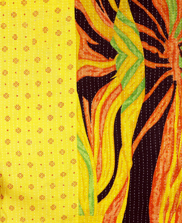 ethical baby gift yellow kantha quilt throw