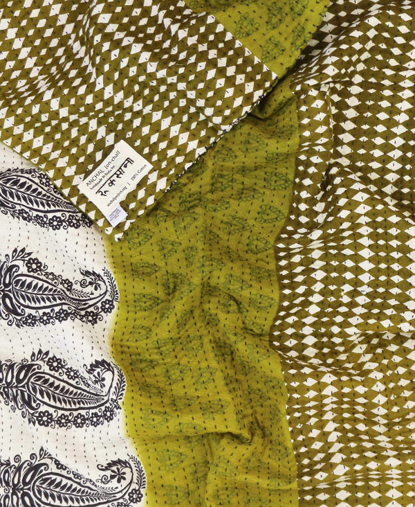 Anchal Project olive green small quilt made from vintage cotton saris