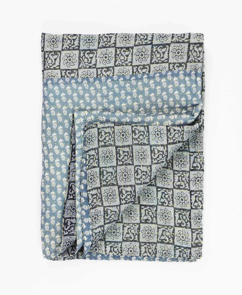 slate blue floral kantha quilt hand-stitched by artisans in India
