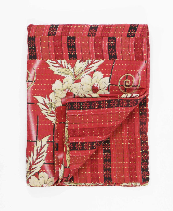 red floral small kantha throw quilt by Anchal Project