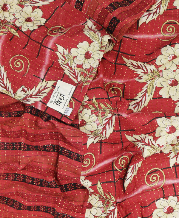 bohemian lightweight blanket with red floral pattern