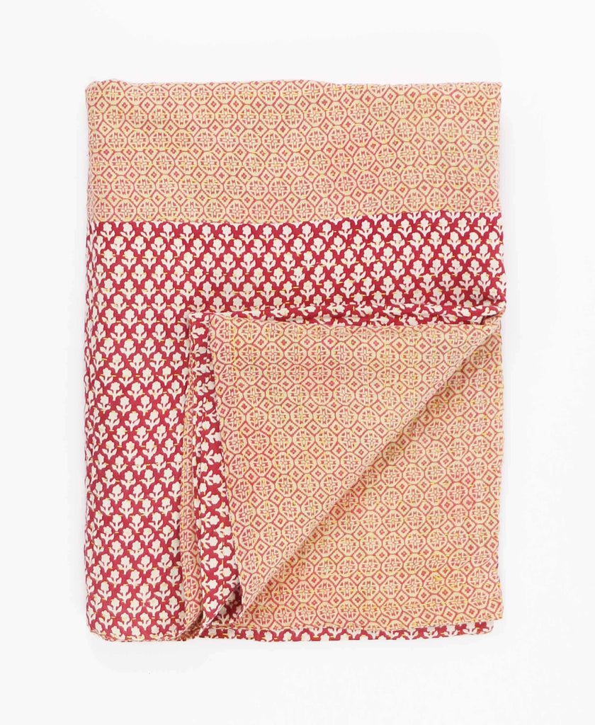 small brick red floral kantha quilt