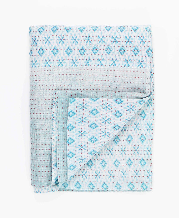 light blue geometric lightweight quilt with kantha stitching