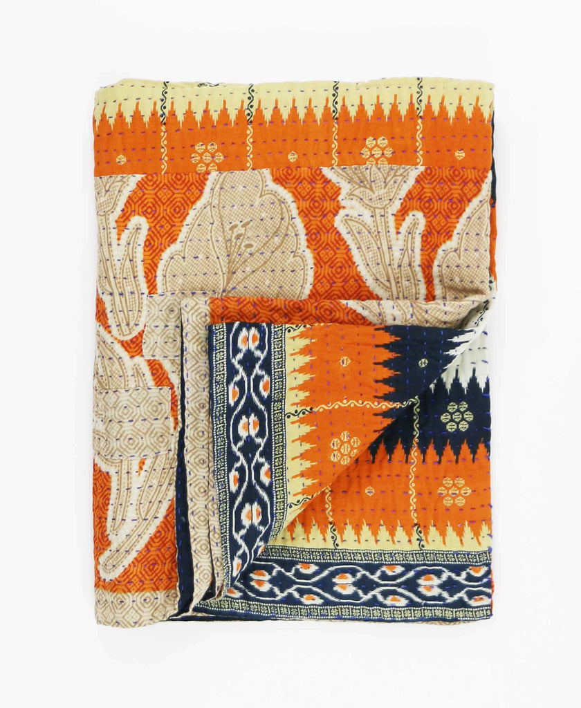 orange and navy bohemian kantha throw blanket