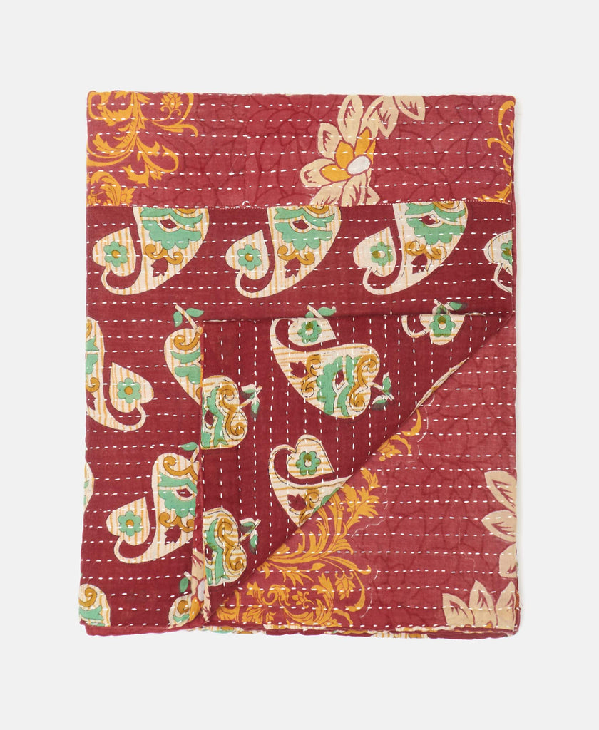 red kantha throw quilt for children's room
