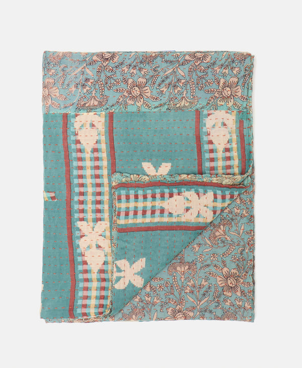 baby blue kantha floral throw blanket