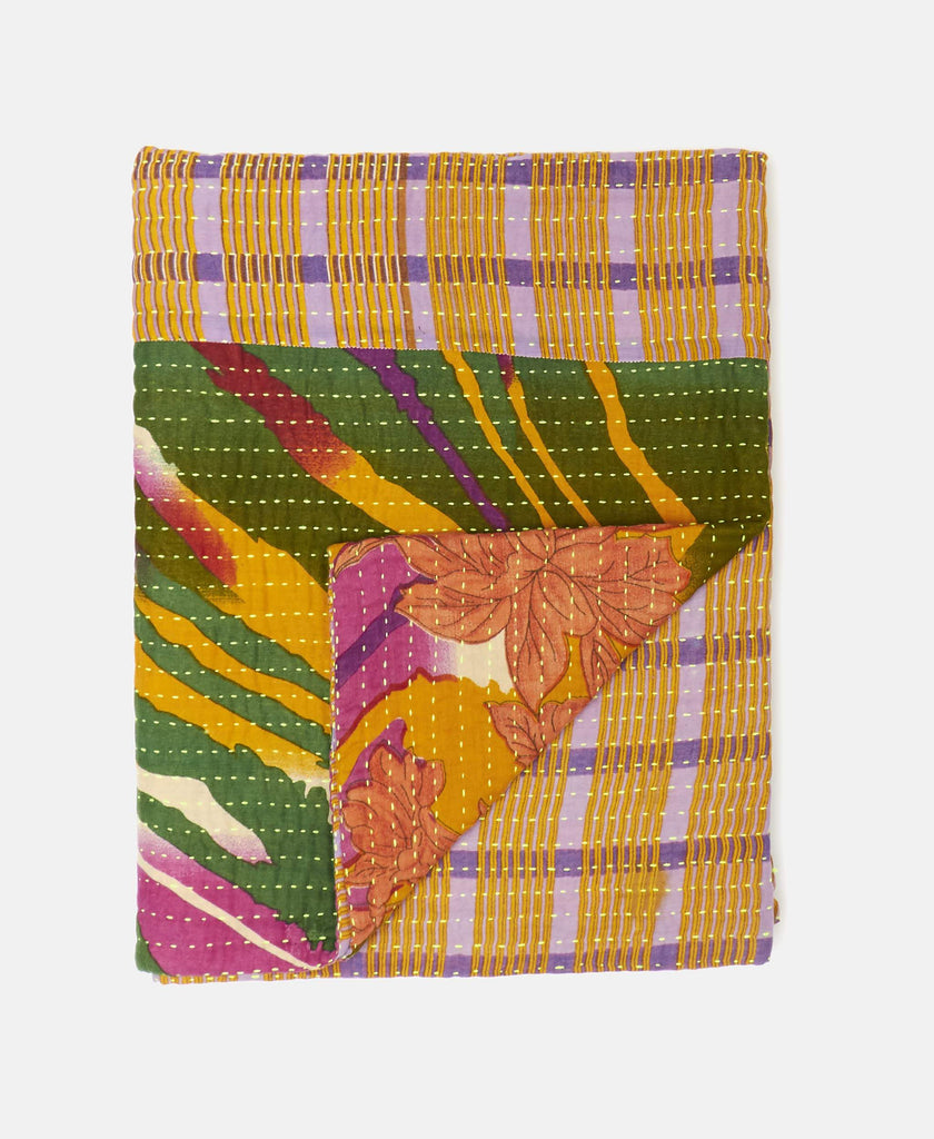 tropical print small kantha throw blanket