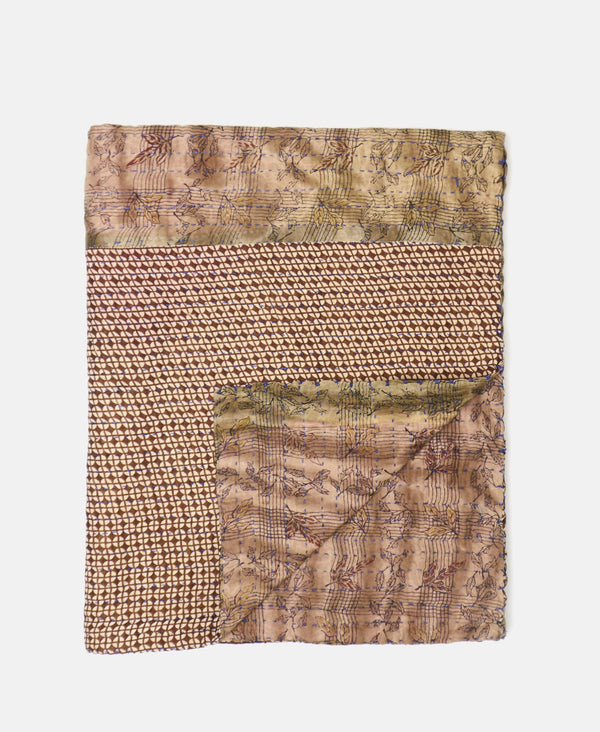 neutral kantha throw quilt hand-stitched using vintage fabrics