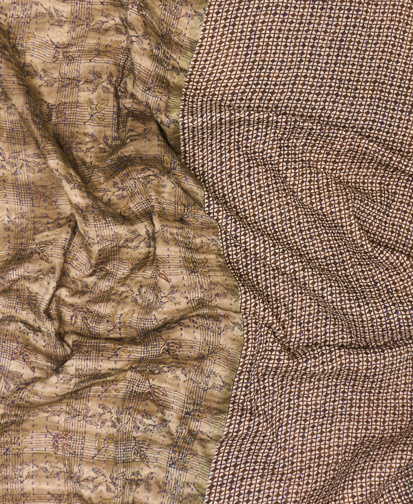light brown kantha quilt made by artisans in India