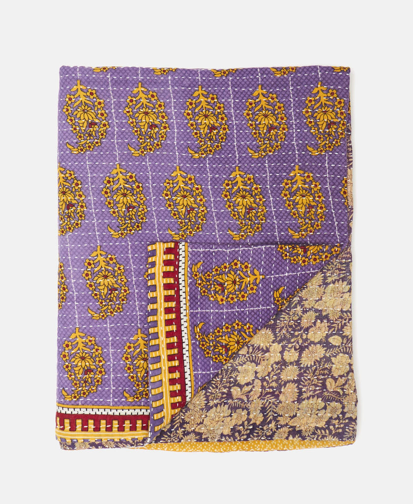 purple kantha throw quilt small lap blanket