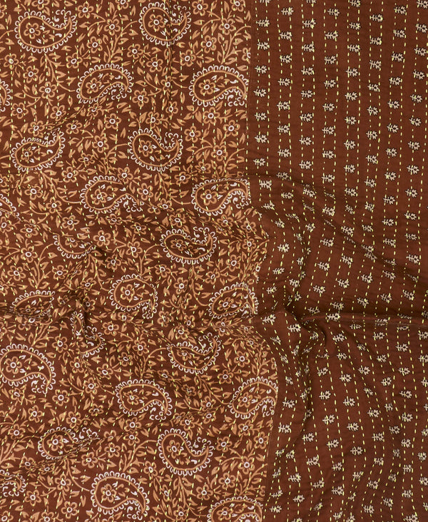 brown paisley hand-stitched vintage quilt