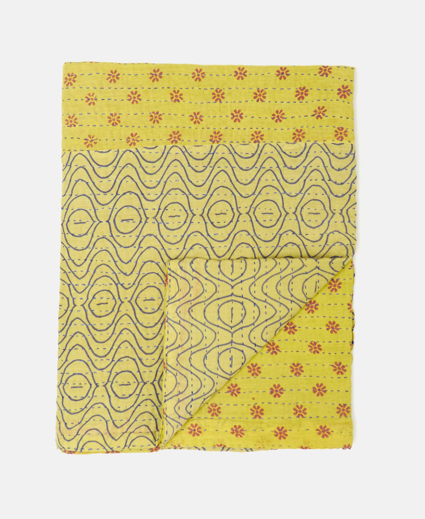 yellow hand-stitched small kantha quilt